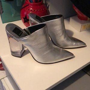 Silver metallic slides